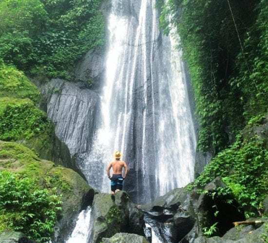 chasing waterfall in bali